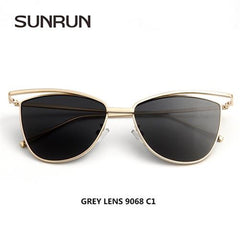 SUNRUN New Fashion Cat Eye Women Sunglasses Brand Designer Glasses Women Vintage Sun glasses Mirror oculos gafas de sol 9068