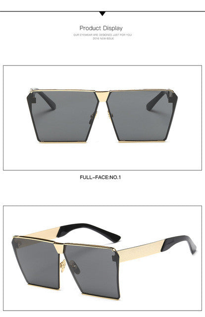 2017 Fashion Luxury Square Sunglasses Women Brand Designer Metal UNISEX Mens Oversized Sun Glasses Mirror Lens Cool GD0019