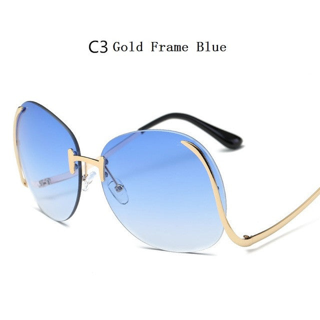 RunBird 2016 New Oversized Round Rimless Sunglasses Women Fashion Optics Big Metal Frame Sun Glasses Elegant Female Myopia R501