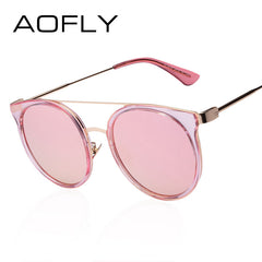 AOFLY Round Sunglasses Brand Designer Women Sunglasses High Quality Double-Bridge Coating Round Glasses Vintage Alloy Legs UV400 - Sunglasses Outlet