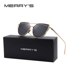 MERRY'S Fashion Women Cat Eye Sunglasses Classic Brand Designer Twin-Beams Sunglasses Coating Mirror Flat Panel Lens S'7882 - Sunglasses Outlet