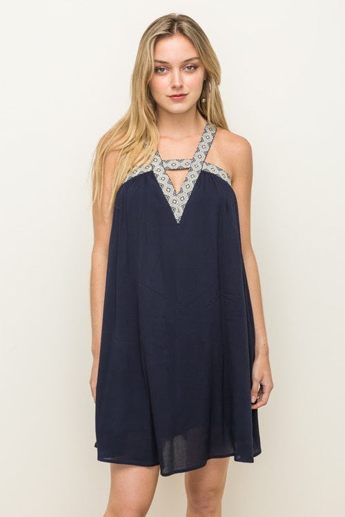 Embroidery Tape V-Neck Dress