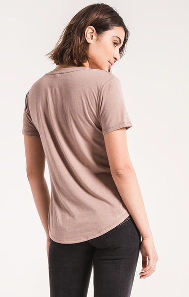 The V Neck Tee Taupe Grey