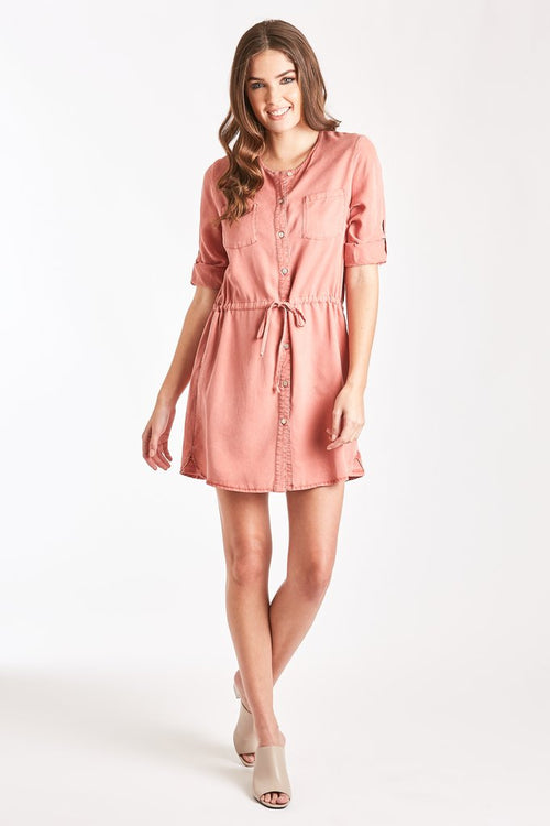 Luka Shirt Dress in Coral Reef