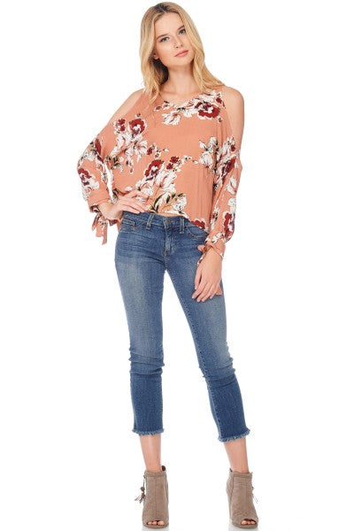 Coral Floral Cold Shoulder Top
