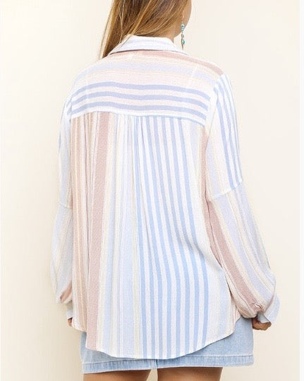 Multi Stripe Scoop Top