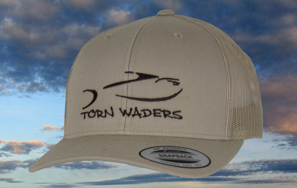 Khaki Trucker Dark Brown Embroidered Fishing Hat