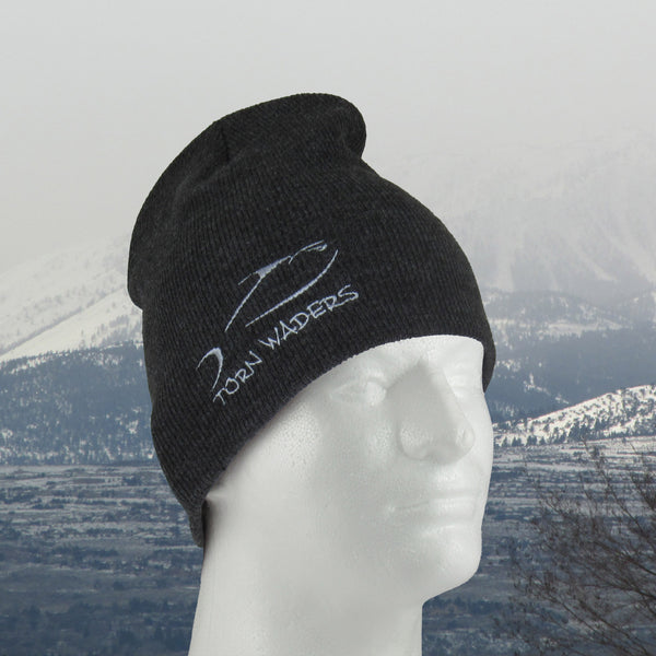 Uncuffed Dark Gray Knit Gray Embroidered Fishing Beanie