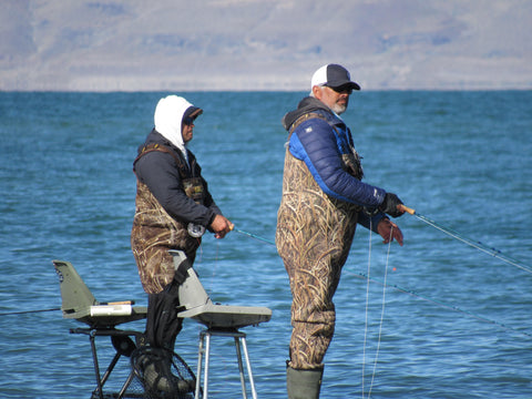 Two Men Fly Fishing at Pyramid Lake