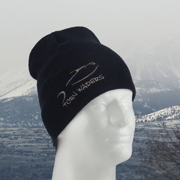 Uncuffed Navy Knit Tan Embroidered Fishing Beanie