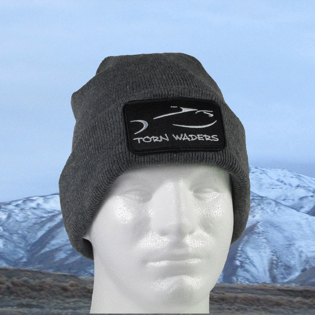 Torn Waders Gray Fleece Lined Fishing Beanie