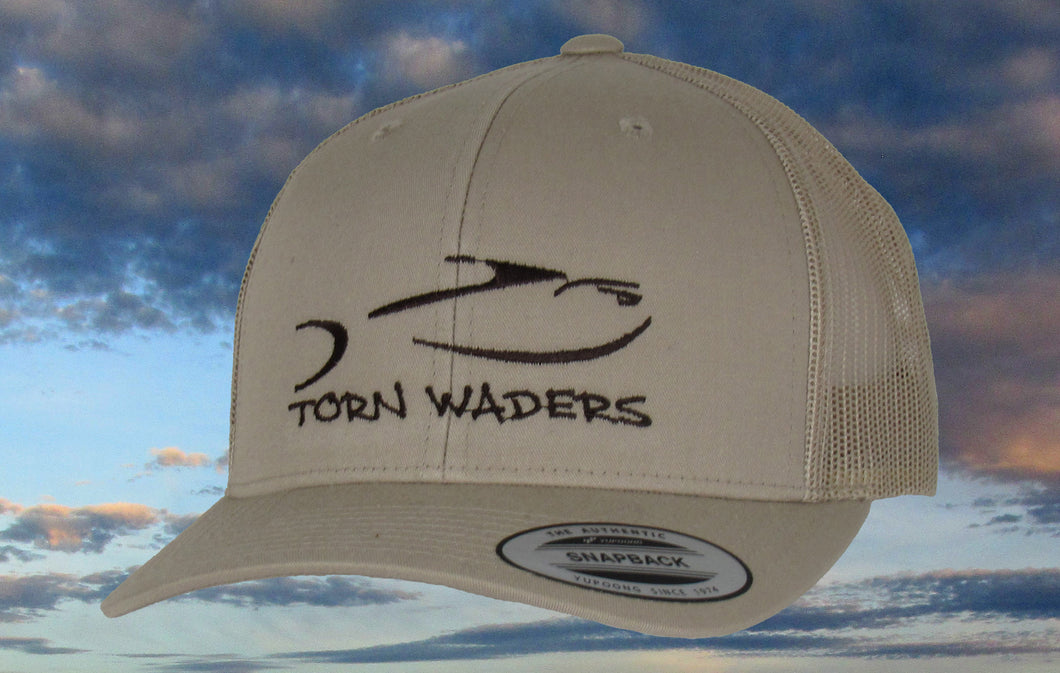 Torn Waders Khaki Trucker Dark Brown Embroidered Fishing Hat Classic