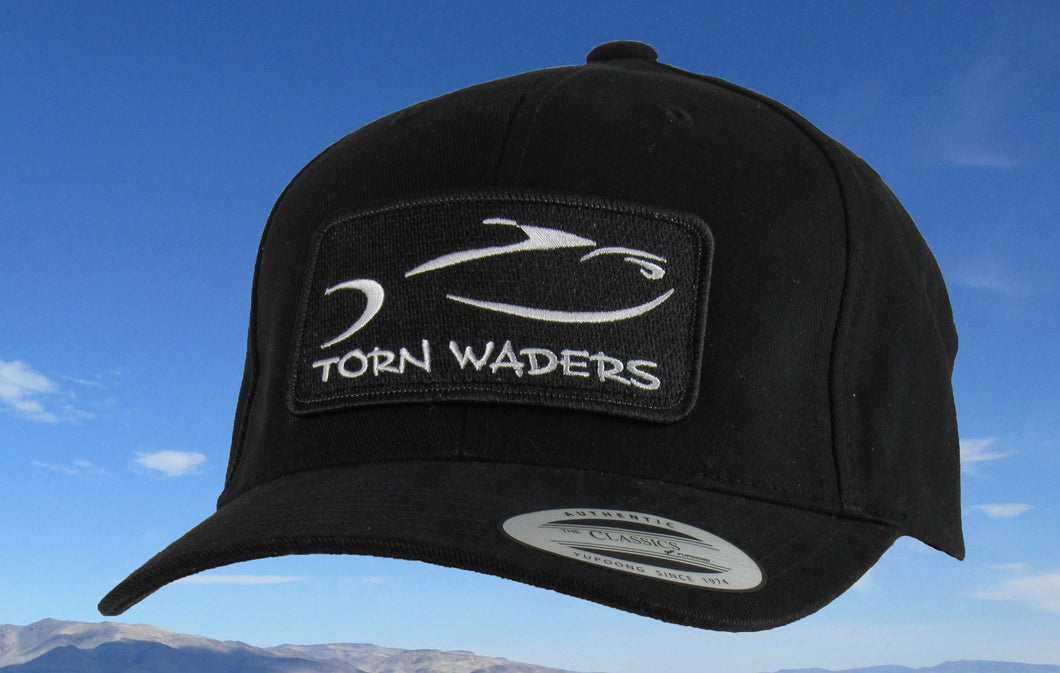 Torn Waders Black Brushed Cotton Fishing Hat Classic Patch