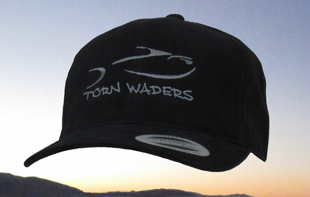 Torn Waders Black Brushed Cotton Dark Gray Embroidered Fishing Hat Classic