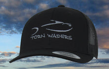 Torn Waders Black Trucker Dark Gray Embroidered Fishing Hat Classic