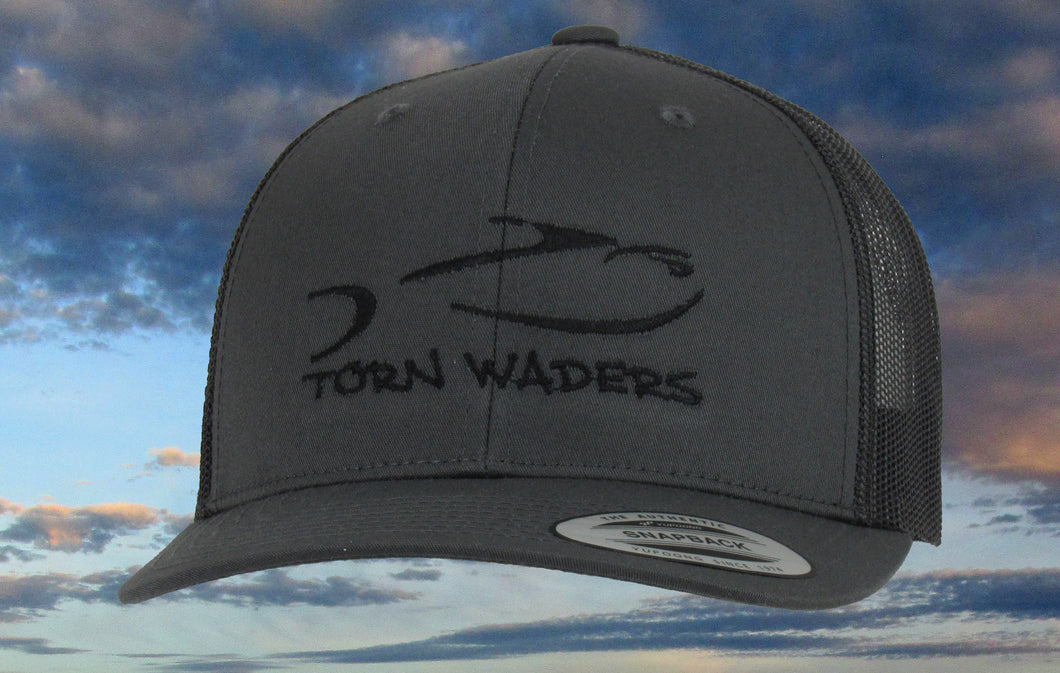 Torn Waders Charcoal Trucker Black Embroidered Fishing Hat Classic