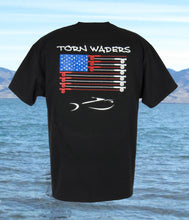 Torn Waders Fly Rod Flag Black Fishing T-Shirt