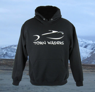Torn Waders Black Fishing Hoodie