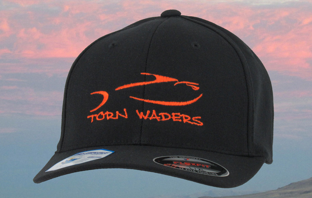 Torn Waders Black FlexFit® Pro-Formance Orange Embroidered Fishing Hat Classic