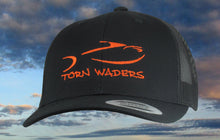 Torn Waders Black Trucker Orange Embroidered Fishing Hat
