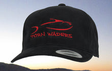 Torn Waders Black Brushed Cotton Red Embroidered Fishing Hat Classic