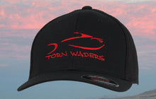 Torn Waders Black FlexFit® Red Embroidered Trucker Mesh Fishing Hat Classic