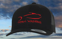 Torn Waders Black Trucker Red Embroidered Fishing Hat Classic