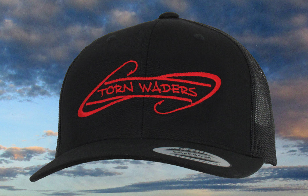 Torn Waders Black Trucker Red Embroidered Fishing Hat Hooks