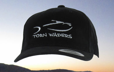 Torn Waders Black Brushed Cotton Gray Embroidered Fishing Hat Classic