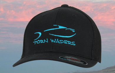 Torn Waders Black FlexFit® Aqua Embroidered Trucker Mesh Fishing Hat Classic