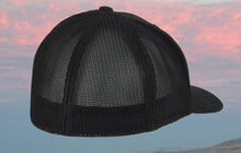 Black FlexFit® Trucker Mesh Black Embroidered Fishing Hat