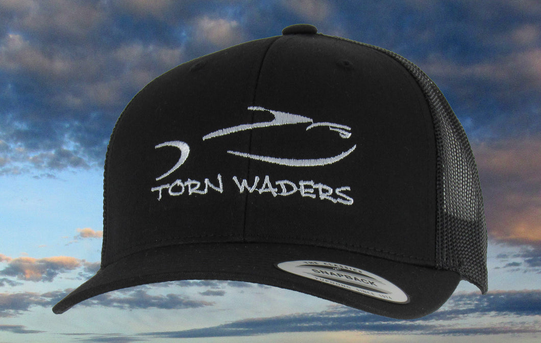 Torn Waders Black Trucker Gray Embroidered Fishing Hat Classic