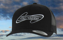 Torn Waders Black Trucker Gray Embroidered Fishing Hat Hooks