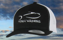 Torn Waders Black and White Trucker White Embroidered Fishing Hat Classic