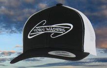 Torn Waders Black and White Trucker White Embroidered Fishing Hat Hooks