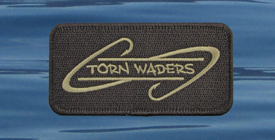 Torn Waders Embroidered Brown Dark Brown Hooks Patch