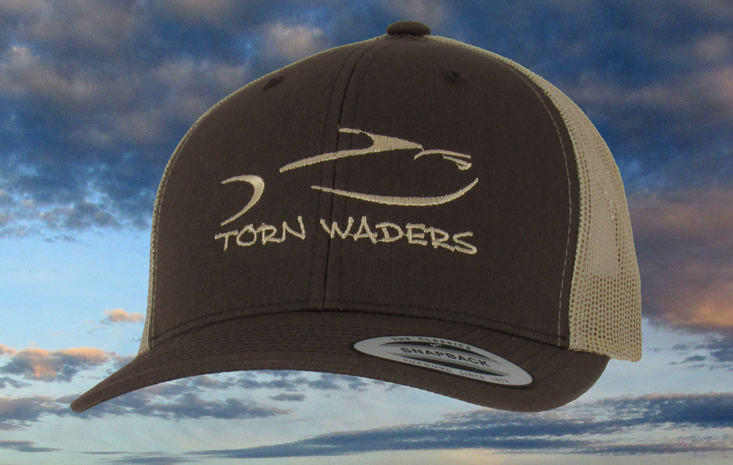 Torn Waders Brown and Khaki Trucker Champagne Embroidered Fishing Hat Classic