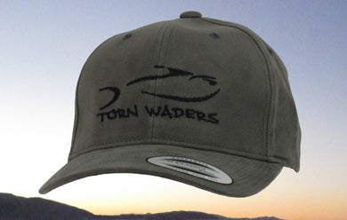 Torn Waders Dark Gray Brushed Cotton Black Embroidered Fishing Hat Classic