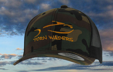 Torn Waders Camo Trucker Gold Embroidered Fishing Hat Classic