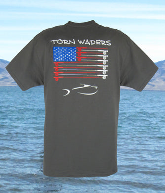 Torn Waders Fly Rod Flag Smoke Gray Fishing T-Shirt