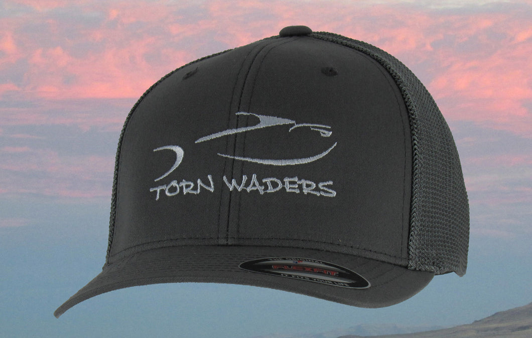 Torn Waders Charcoal FlexFit® Trucker Mesh Gray Embroidered Fishing Hat Classic