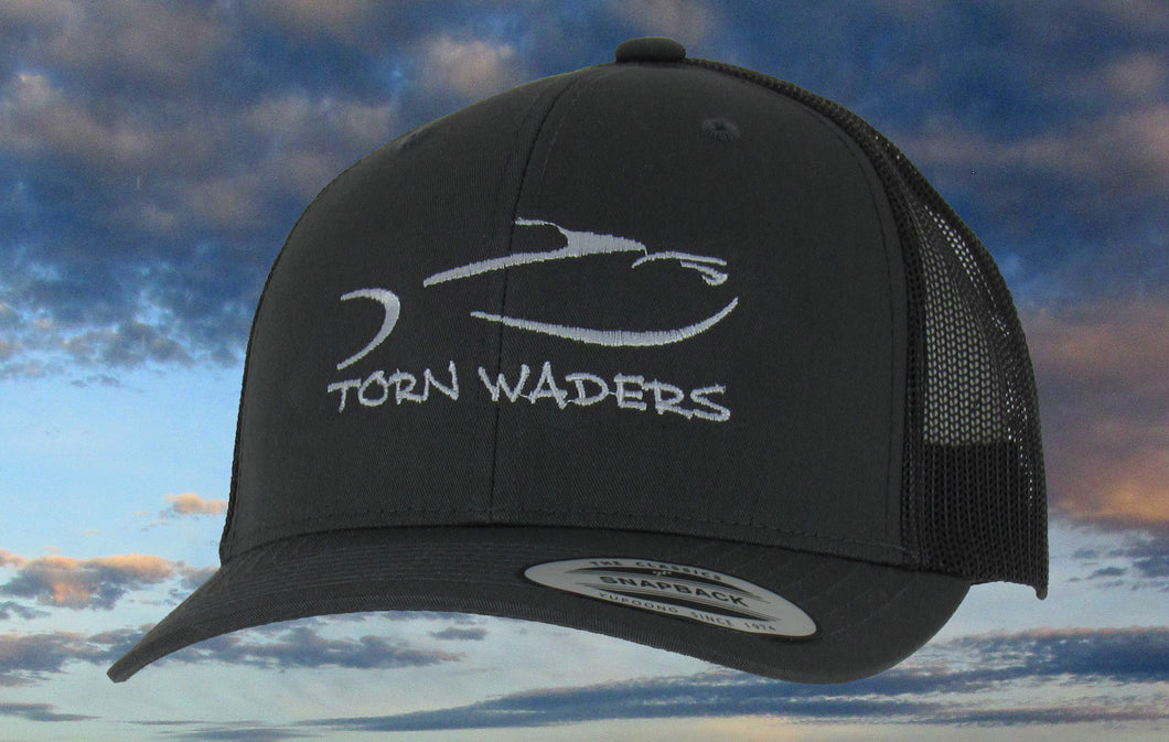Torn Waders Charcoal Trucker Gray Embroidered Fishing Hat Classic