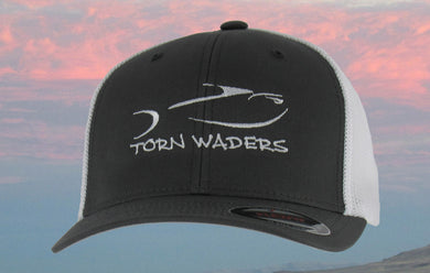 Torn Waders Charcoal and White FlexFit® Trucker Mesh White Embroidered Fishing Hat Classic