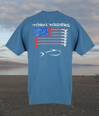 Torn Waders Fly Rod Flag Blue Fishing T-Shirt