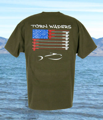 Torn Waders Fly Rod Flag Green Fishing T-Shirt