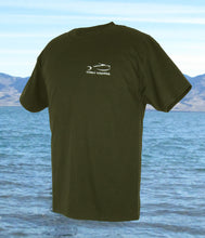 Fly Rod Flag Fishing T-Shirt - Fatigue Green