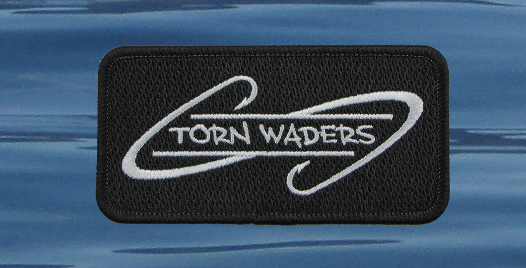 Torn Waders Embroidered Black Hooks Patch