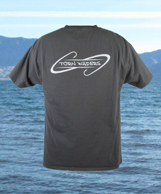 Torn Waders Hooks Smoke Gray Fishing Pocket T-Shirt
