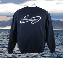 Torn Waders Hooks Navy Fishing Crewneck Sweatshirt
