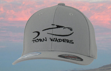 Torn Waders Gray FlexFit® Pro-Formance Black Embroidered Fishing Hat Classic